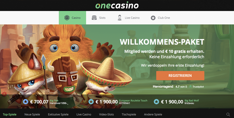 One Casino Bonus Angebote